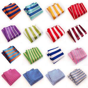 Men's Classic Striped Checks Print Handkerchief Wedding Business Pocket Square