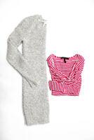 BCBG Max Azria Womens Long Sleeve Knit Top Sweater Dress Pink Gray Size M Lot 2