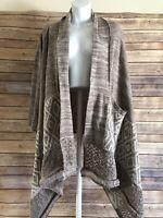 Womens PAPER CRANE Cardigan Sweater Size Medium High Low Duster Brown Aztec L/S