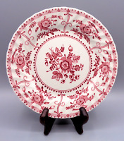 "Vintage JOHNSON BROS England 1883 Red Pink White 8"" Salad Dessert Plate"