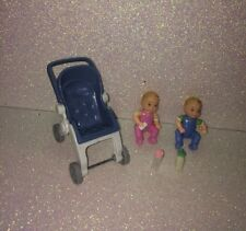 Fisher Price Loving Family LOT---Twin Boy & Girl Baby Dolls & Stroller Carriage