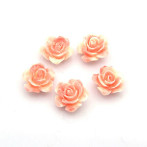 100 pcs DarkSalmon Rose Flower Resin Beads Crafts For DIY Jewelry Making 14x7mm