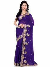 Indian Bollywood Designer Wedding Party Georgette Embroidery women Saree Sari