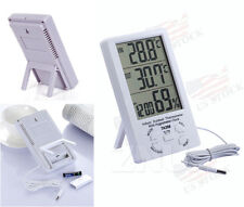 LCD Digital Thermometer Hygrometer °C/°F Temperature Humidity Meter Clock White
