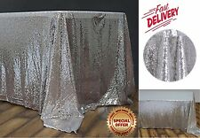 """Sequin Rectangular Tablecloth 60x102"""" Silver for Wedding Birthday Party Buffet"""