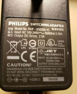 Philips  Switching AC Power Adapter Model #RHF-050250-1C Output: 5V 2.5A