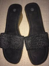 Woman's Size 9 Black Slip On Stretchy Straw Strap Wedged Sole Shoes Sandals NEW