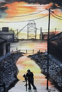 Original Northern Art Painting By Claire Shotter. Industrial. Man And His Dog