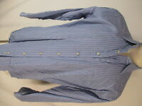 Peter Millar Mens Blue Stripe Long Sleeve Cotton Shirt 16.5 L