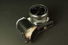 Genuine real Leather Half Camera Case bag for Sony NEX5T NEX5R Black Bottom Open
