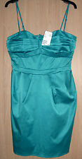 BNWT H & M Teal Turquoise Green Stretch Fitted Boned Lined Strappy Dress size 14