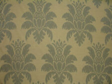 Linen Damask design Large Medallion Floral Icy Blue  Drapery Upholstery Fabric