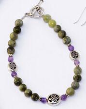 Connemara marble and amethyst celtic Irish bracelet. Jewelry gifts Ireland