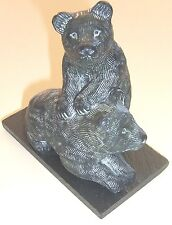 """Vintage Greg Wolf Hand Made in Canada 4"""" Sculpture 2 Bear Cubs EUC Slate Base"""