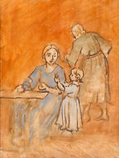 Elegance oil painting portraits Sketch Draft painting happy family on canvas
