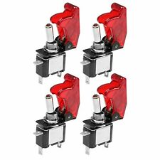4pcs Fit Car Truck Red Cover Led Toggle Switch Racing Spst Onoff 20a Atv 12v