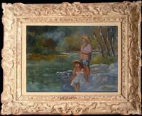 Tableau peinture impressionnisme scène de genre Gino Pedini école Italienne