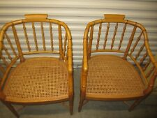 Pair Mid Century Faux Bamboo Arm Chairs with NEWLY CANED SEATS - Century Brand