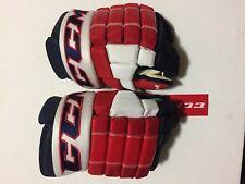 "New! Ccm Hg4Rrp (4 Roll) Washington Capitals Nhl Pro Stock Hockey Gloves 14"""