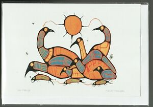"""LOON FAMILY - 6"""" x 9"""" - art card by Norval Morrisseau - Free Shipping - 9080"""