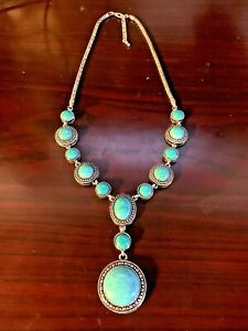 Turquoise & Silver Beautiful Statement Necklace