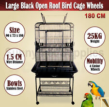 Large 180 CM Black Open Roof Pet Bird Parrot Canary Cage On Castor Wheels