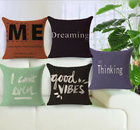 "18"" Letter Pattern Cotton Linen Throw Pillow Case Sofa Cushion Cover Home Decor"