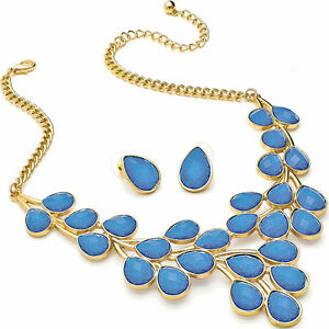 Blue glitter stone statement necklace earrings costume fashion jewellery set