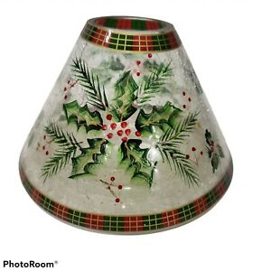 Yankee Candle Christmas Holiday Holly Berry Crackle Glass Large Jar Shade Plaid