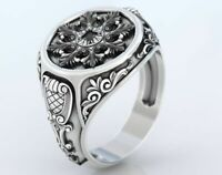 925 Seterling Silver Oxidized Antique Art Deco Style Ring Size 6 7 8 9 10 11