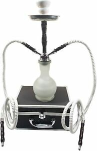 """17"""" 2 Hoses Junior Hookah Complete Set with Travel Suitcase - WHITE - NEW!"""