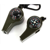 2pcs 3 in 1 Hiking Outdoor Camping Emergency Survival Whistle Compass Thermomete