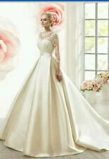 Reino Unido Nuevo Blanco/Marfil con Encaje y Satén Vestido para Boda Traje de Novia Talla 6-20