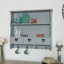 Grey wall shelving unit vintage French 2 shelf bedroom bathroom hallway storage