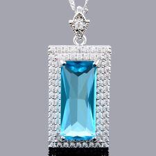 Rectangular Cut 18K White Gold Plated Aquamarine Pendant Necklace Free Chain