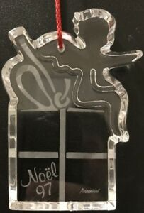 Baccarat Crystal Angel & Present Hanging Christmas Ornament Noel 1997 Signed