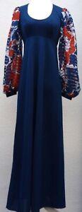 Beautiful Vintage 1970s DRESS Balloon Sleeve RICHARD SHOPS Maxi Navy Blue V10 8