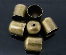 10 X casquillos de extremo del grano Puntas 9.5mm para kumihimo pulseras & collares Bronce