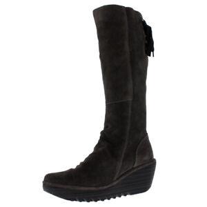 Womens Fly London Yust Winter Oil Suede Wedge Diesel Boots Knee Highs US 5-11