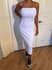 Connie's Semi Sheer Stretch White Tube Midi Cocktail Dress S