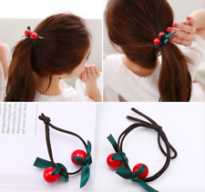 2pc Double Cherry beads black Elastic Hair Ring Hair Rubber bands Rope Headbands