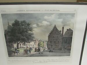Cirpenne 1812  Lithograph Albany View of First Dutch Governors Home Original