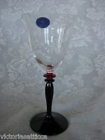 CRISTALLERIA FUMO Ruby Red Glass &Crystal Hand Blown Wine Goblet - Made in Italy