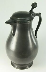 ~ Antique 18th C. Pewter Flagon Spouted Baluster Form Lidded Tankard Marked