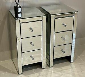 Pair of Elegant Mirrored Bedside Tables Slim Petite Drawers Cabinets Bedroom