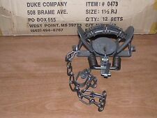 12 Duke # 1 1/2 Rubber Jaw Coil Spring Trap 0473 Raccoon Mink Nutria Trapping