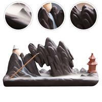 Hand Backflow Incense Burner Smoke Waterfall Lotus Flower Stick Holder Ceramic