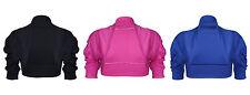 Girls Kids Plain Ruched Sleeves Bolero Shrug Cardigans Age 3-13 Years