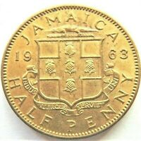 1963 JAMAICA, Elizabeth II Half Penny About UNCIRCULATED.