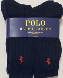 Polo Ralph Lauren Classic Sport 6-Pair Crew Socks Navy Blue  with Red Pony